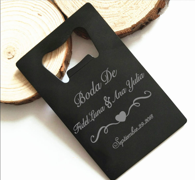 50x Personalized Wedding Gift for Guest Black Credit Card Bottle Opener Laser Engraved Bottle Opener Personalized Wedding Favor