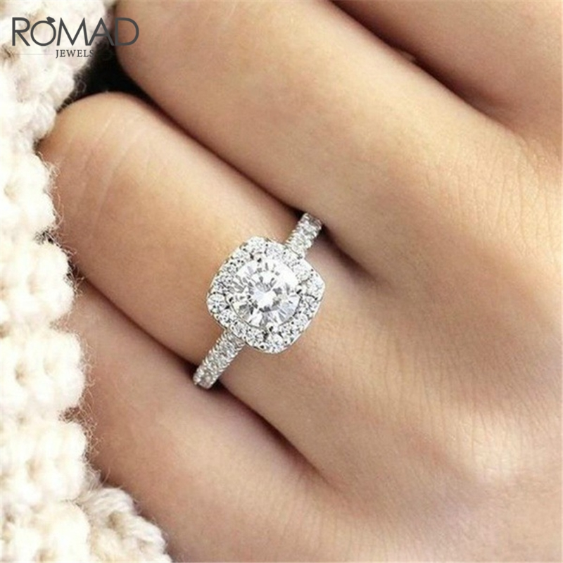 Strong-Willed Romad Luxury Design Hot Sale White Cz Silver Women Rings Aaa Zircon Wedding Bijoux Engagement Ring Jewellery R4