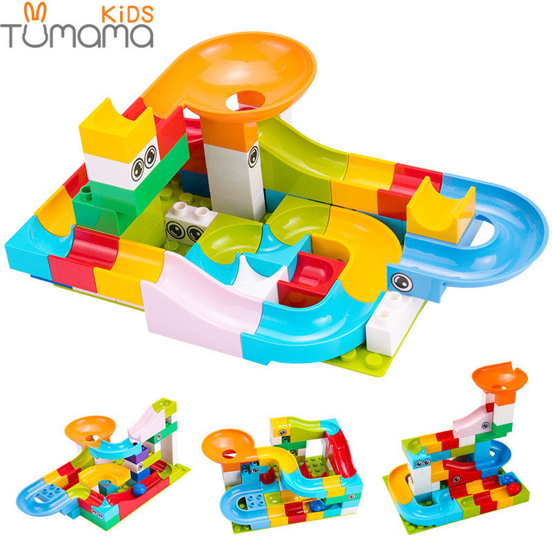 52Pcs Construction Marble Race Run Maze Balls Track Building Blocks Big Size Educational Bricks Compatible Bricks
