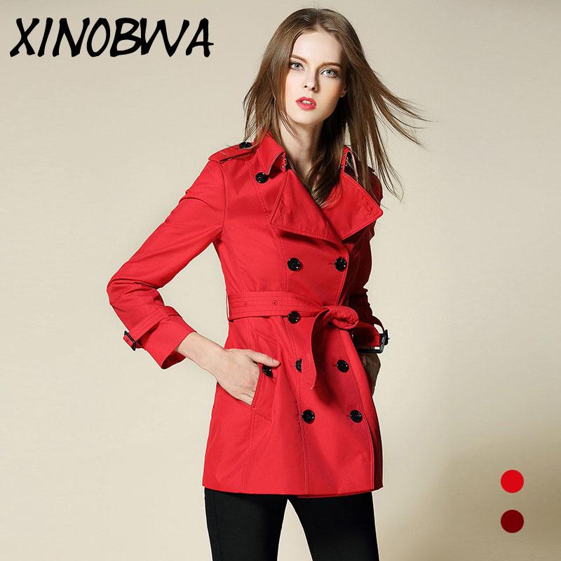 Casual Femme Automne Chaude Outwear Tranchée Ceinture Imperméable Manteau Double Manteaux Red Coupe Long Femmes rouge La Plus breasted Trench Wine vent Taille rx8Y4Y0qw