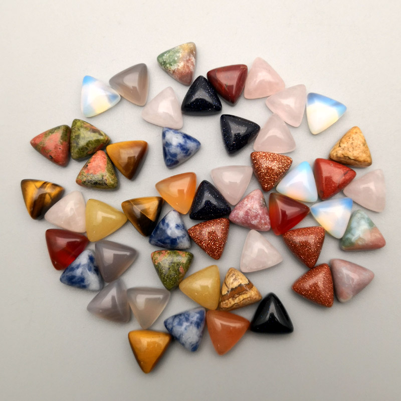 Image 2 - 2016 fashion assorted Triangle cabochon 10MM Charm natural stone beads for jewelry Accessories 50Pc/lot Free shipping No hole-in Beads from Jewelry & Accessories