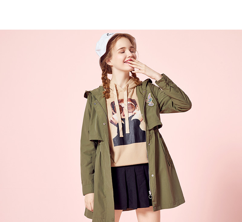 SEMIR Windbreaker Female 18 Autumn New Hooded BF Style Student Patch Embroidered Waist Long Fashion Coat For Girls 6