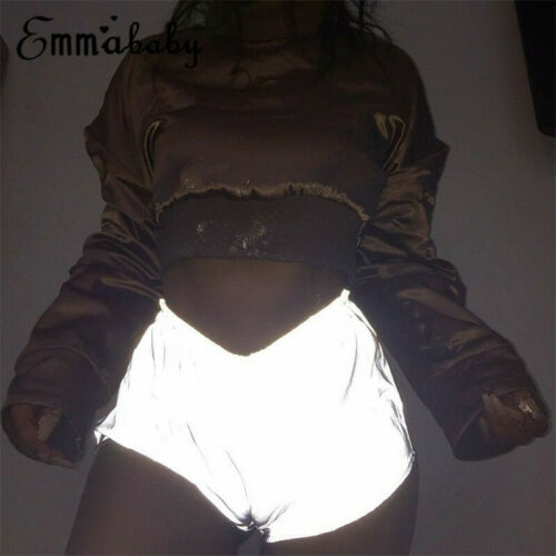 Night Light Reflective Shorts Women Hip Hop Shiny Short Pants Casual Shorts Solid Color Mid Elastic Waist Sexy Shorts Club Wear