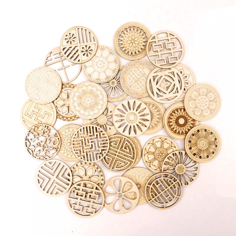Chinese Style Retro Frame Wooden Pattern Round Scrapbooking Craft Handmade Accessory Sewing Home Decor DIY 5pcs 64mm
