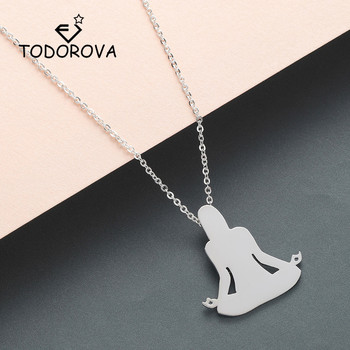 Todorova Hand Cut Lotus Flower Yoga OM Yogi Meditation Pendant Necklace Women Stainless Steel Chain Men Necklace image