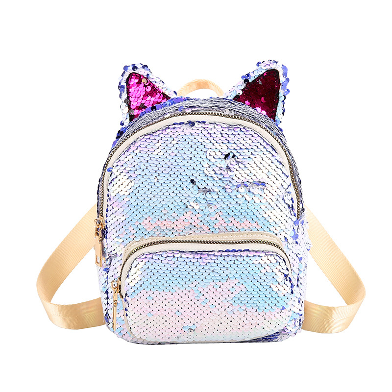 Cute Sequins Cat Ear Travel Backpacks Women Casual Shoulder School Bags Multiple Colour Preppy Style Small Knapsack Rucksack New in Backpacks from Luggage Bags