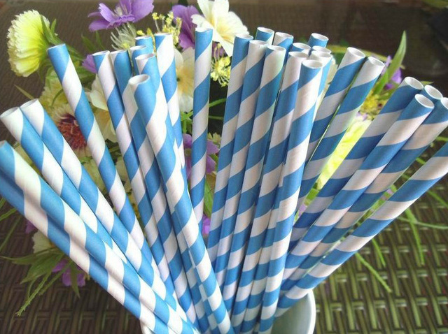 Straw eco-friendly multicolour ktv supplies wedding banquet blue stripe t7689