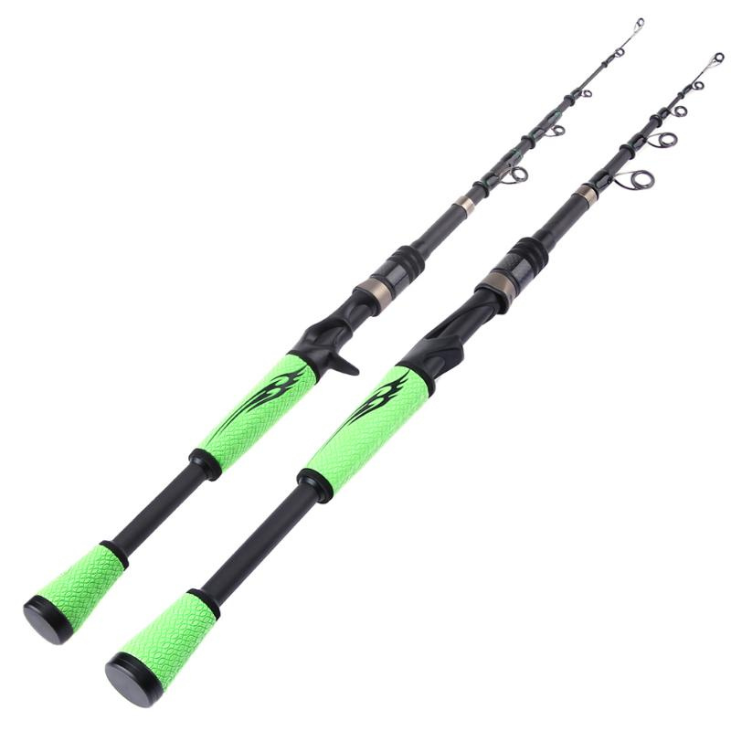 1.98M 2.1M PU Handle Telescopic Carbon Fiber Fishing Rod MH Hard Spinning Sea Casting Fishing Rod Fishing Tackle Tools