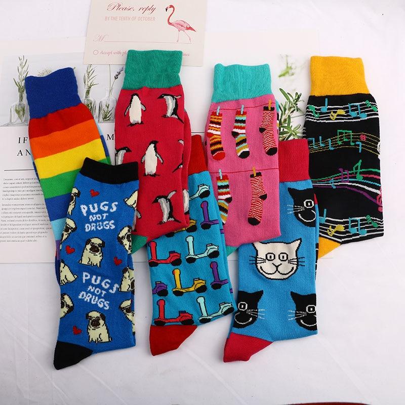 Fashion Happy   Socks   Cotton Soft Sox Beautiful penguin dog Curve Men Funny Women Ladies Girls Art   Socks