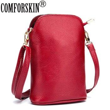 COMFORSKIN Brand Designer Guaranteed Genuine Leather Women Mobile Phone Bag Hot Fashion Litchi Pattern Ladies Messenger Bag 2018