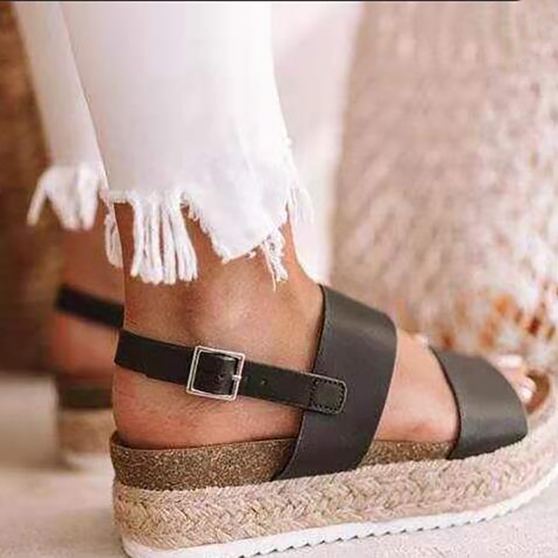 women sandals Summer new fish mouth shoes for female high heels thick bottom large size leopard buckle with sandalias mujer in High Heels from Shoes