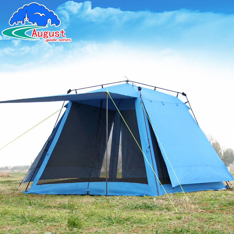 Huge 4 5 6 Person Half Automatic 2 Layer anti Mosquito Family Awning Party Pergola Beach Shelter Fishing Outdoor Camping Tent 5 6 person huge 2 layer automatic rainproof sunshade shelter hiking travel fishing beach family awning outdoor camping tent
