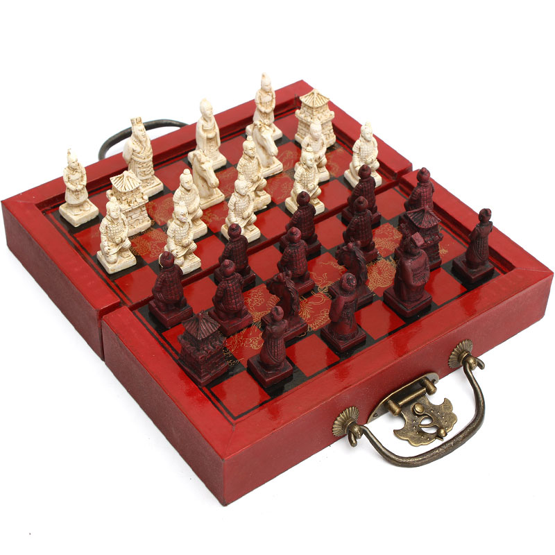 High-endCollectibles Vintage Chinese Emperor Qins Terra Cotta Warriors Chess game Set board noveltygift Leaders Friends Family