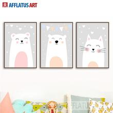 AFFLATUS Bear Cat Wall Art Canvas Painting Posters And Prints Nordic Poster Cartoon Pictures Style Kids Decoration