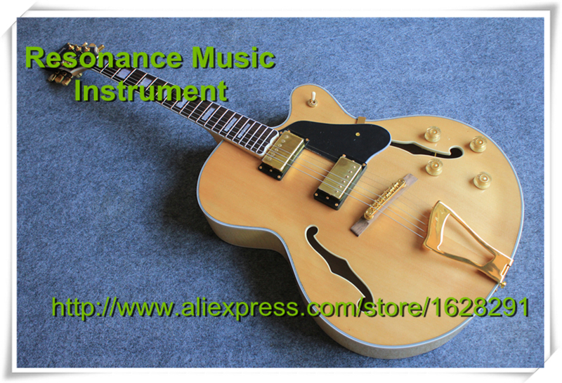 Top Selling Jazz Electric Guitar L5 Model Hollow Body Natural Top Ready for Shipping top selling emerald green classical chinese jazz electric guitar with bigsby hollow guitar body