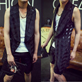 2015 men new slim fashion hairstylist Male summer gauze plaid outerwear gd slim medium-long vest stage costumes clothing
