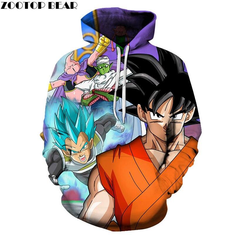 Adult/Child Thick Pullovers Soft Men Hoodies Dragon Ball Anime Super Male 3D Print Tops Cotton Drop Ship Sweatshirts ZOOTOP BEAR