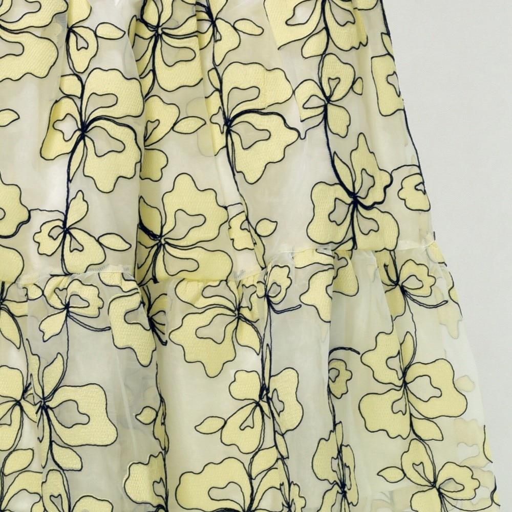 De Hueco Elegante Bordado Y Primavera Malla 2019 Verano Faldas Mujeres Largo Flor Nuevo Vestido xqXSIf