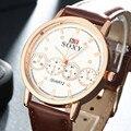 2016 hombres de la Marca de Reloj de Cuarzo Correa de Cuero Relojes de Moda Negro Reloj de Los Hombres de Cuero Marrón Reloj Casual Hombres Braclet reloj de pulsera