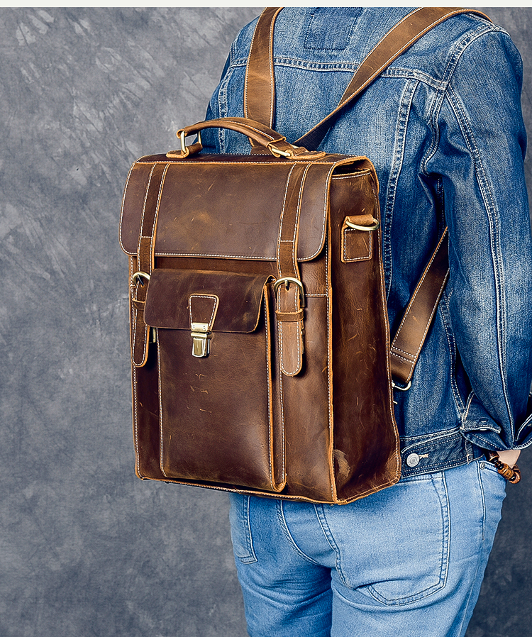 back of the owai luxury messenger backpack
