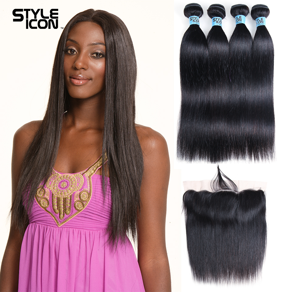 Styleicon 3/4 Bundles With Closure 13x4 Lace Frontal Mongolian Straight Hair Bundles With Frontal Non Remy Human Hair Extension