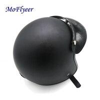MoFlyeer Synthetic Leather Motorcycle Helmet Retro Vintage Cruiser Chopper Scooter Cafe Racer Moto Helmet 3/4 Open Face Helmet
