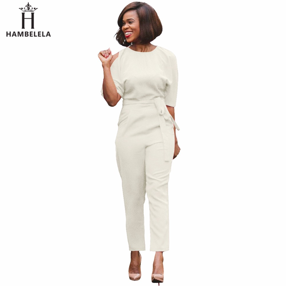 d9b672a70fa HAMBELELA Fashion Rompers Women Jumpsuits Sexy Split Half Sleeve Ladies  Work Formal Elegant One Piece Jumpsuit