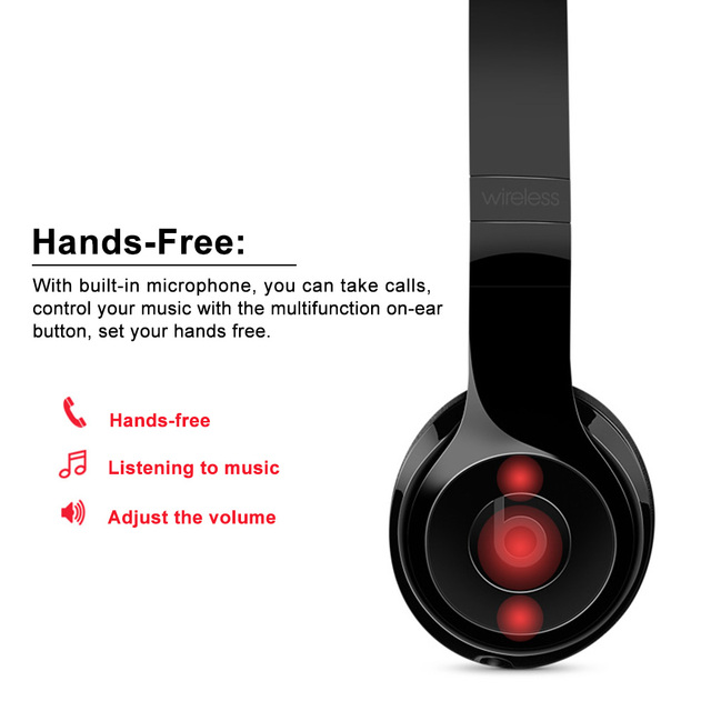 Beats Solo3 Wireless Bluetooth Headphone On-Ear Gaming Headset Music 3.5mm Wired Earphone Hands-free Earphones with Mic