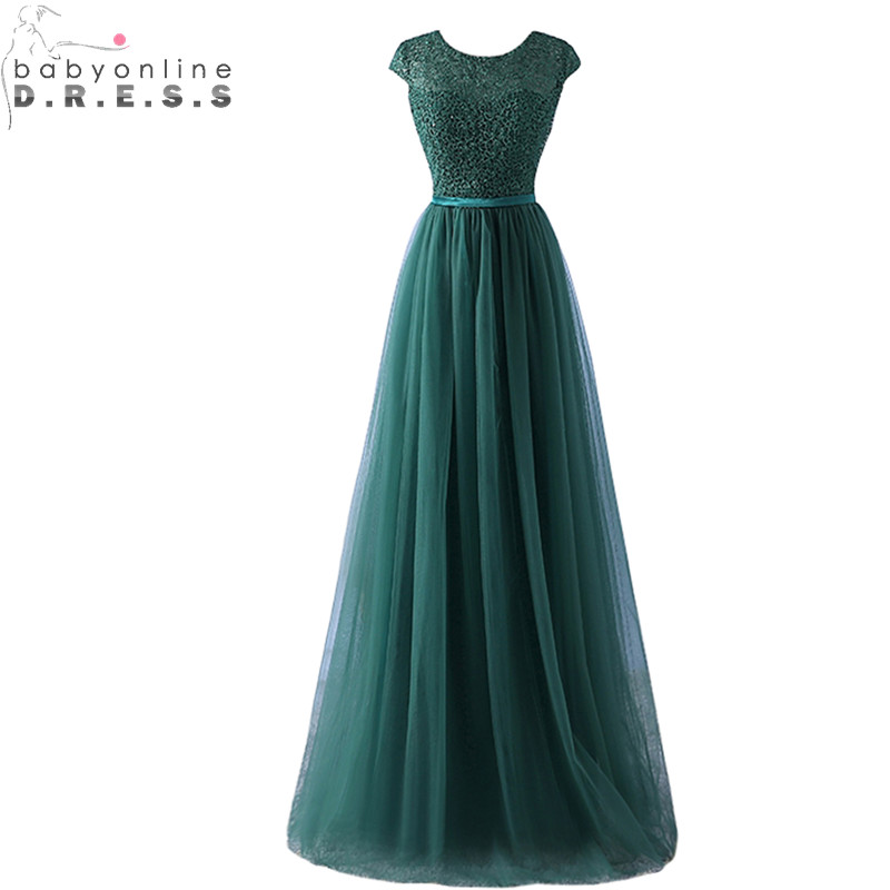 Elegant Dark Green Lace Evening Dress 2019 Sexy Transparent Back Tulle Evening Gowns with Sashes Vestido