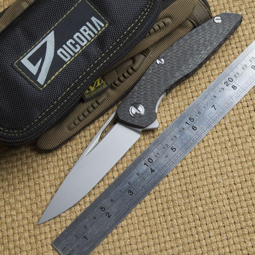DICORIA Flipper F111 S35VN blade tactical folding knife outdoor survival carbon fiber camping hunting pocket knives