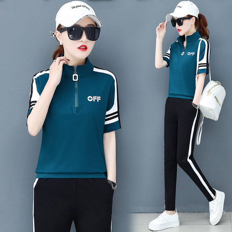 summer women sportswear tracksuit short sleeve T-shirt sweatshirt+pant running jogger exercise fitness workout casual sport suit 54