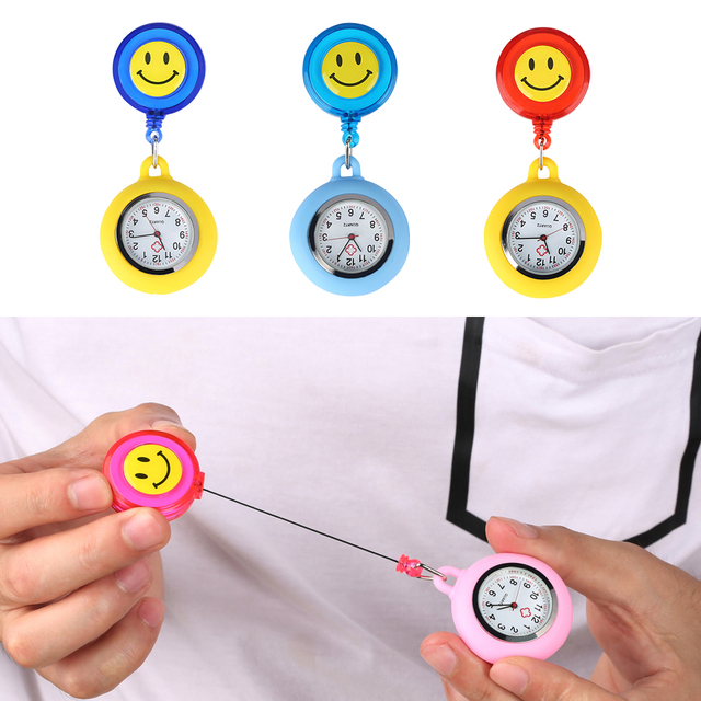 Lovely Smiling Face Nurse Pocket Watch for Ladies Retractable Rope Quartz Analog Gift Watches for Girls