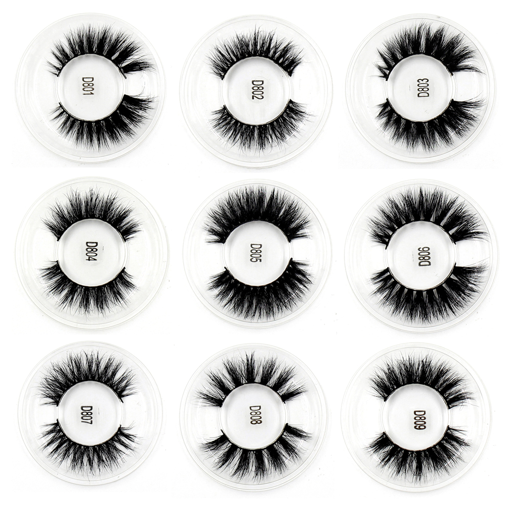 100PCS False Eyelashes handmade real mink fur 3D false eyelash strip lashes Natural volume cruelty free