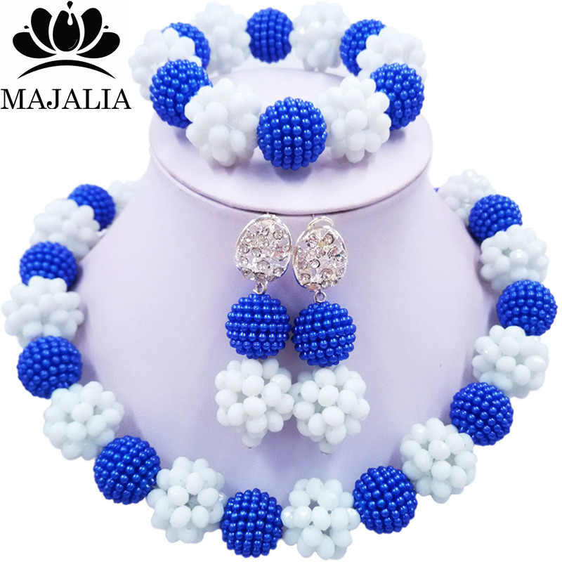 Majalia Fashion Nigeria Wedding African Beads Jewelry Set White Crystal Plastic Pearl Necklace Bridal Jewelry Sets 1ZS038