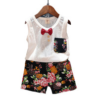 Boy Clothes Sets New 2017 Summer Style Boy Clothes Trend Bowknot Sleeveless Vest+Flower Shorts Boy Clothess Children Clothing