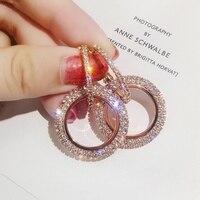Nouveau design créatif bijoux haute qualité élégant cristal boucles d'oreilles rondes en or et argent boucles d'oreilles de mariage boucles d'oreilles pour femme