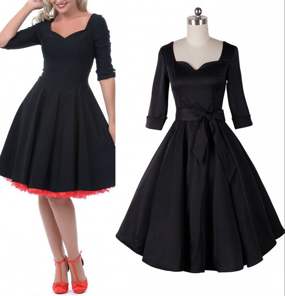 60s Dress 1950s Retro Dresses Rockabilly Vintage Half Sleeve Audrey Hepburn Plus Size Women Clothing In From Womens On