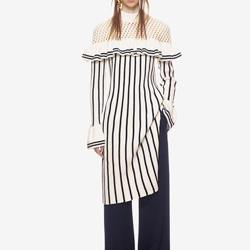 Self Portrait Knitted Dress Ladies Casual Striped Dresses 2018 casual striped comfy knitted blouse