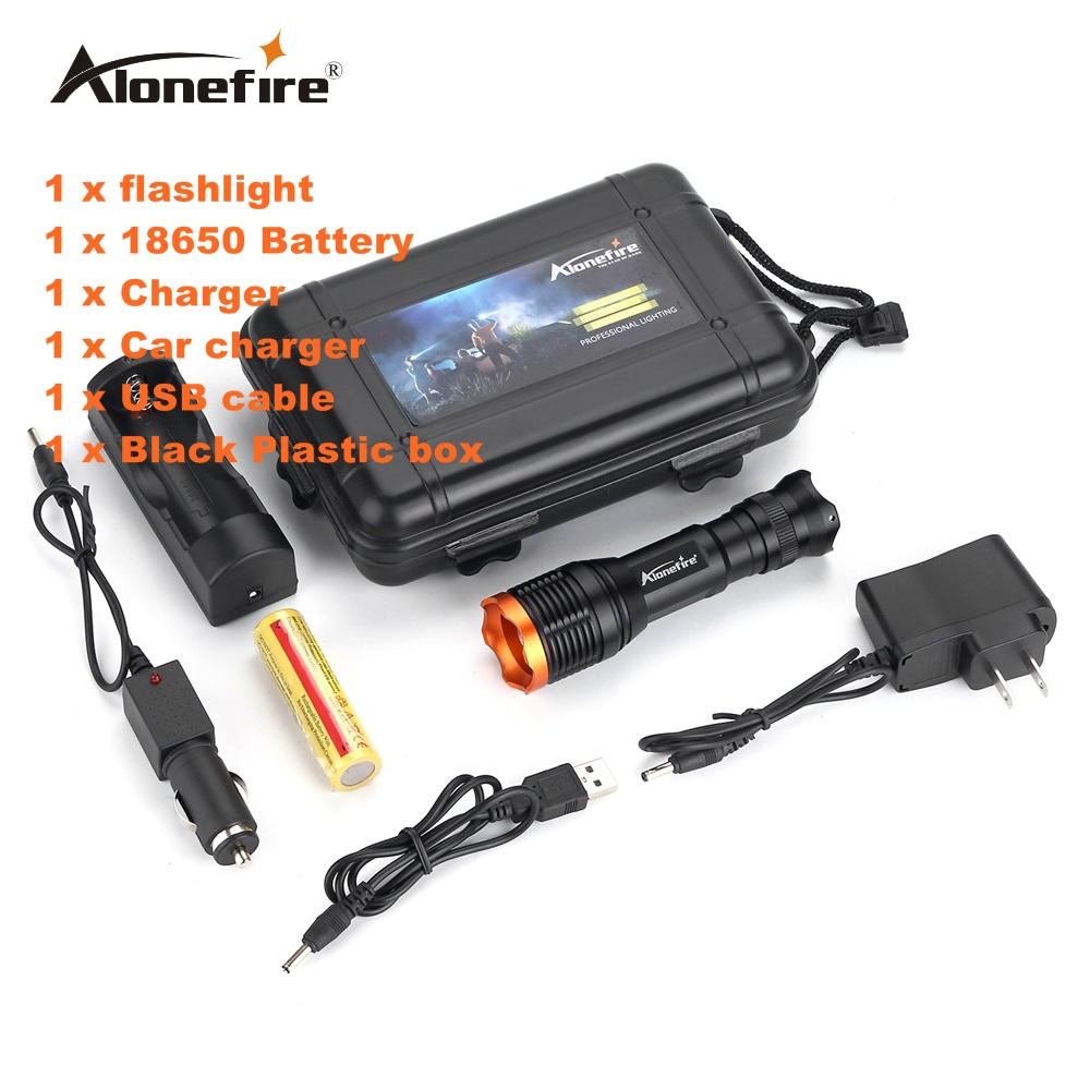 Alonefire SK80 CREE XM-L T6 LED Adjustable Zoomable Flashlight Lamp Light Torch with 18650 Battery and charger led flashlight torch 10 x cree xm l t6 10000lm led lamp wide range light with rechargeable 4 18650 4000mah battery and charger