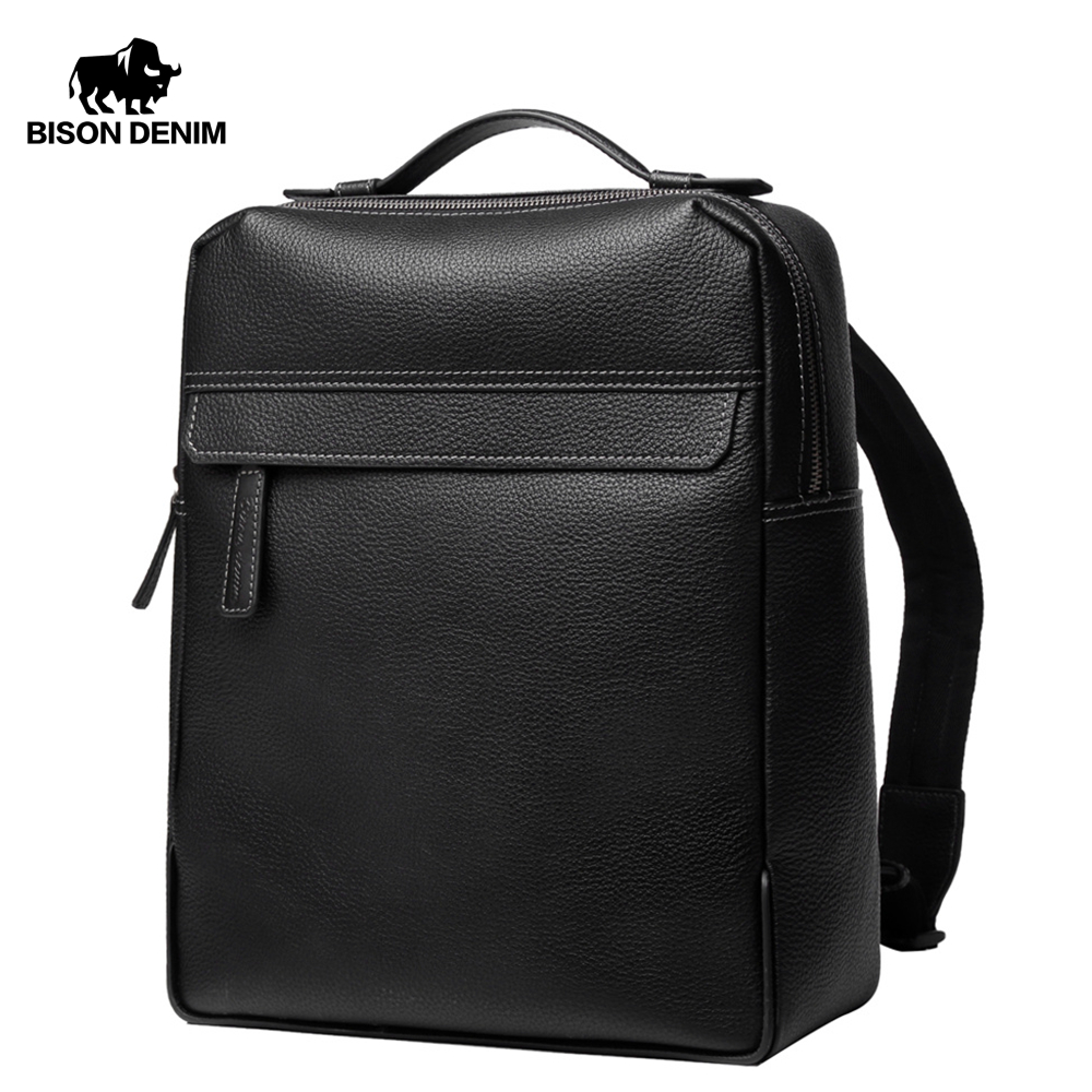 BISON DENIM Men s Backpacks Cowskin Large 14 inches Laptop Backpacks For Male Leather Travel Bags