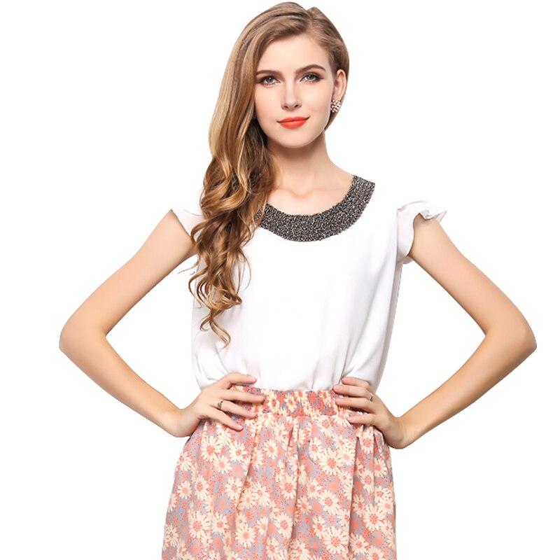 Novelty design women chiffon shirts Rivet neck butterfly sleeve girls sheer blouses S-XXL Ladies summer tops free shipping