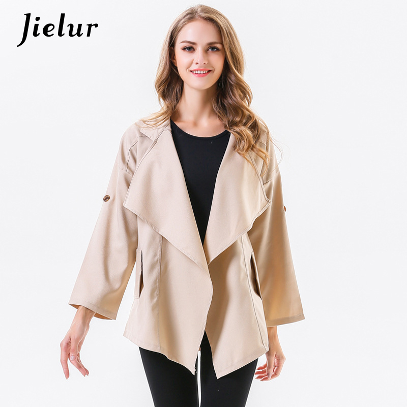 Jielur 2019 Autumn Spring Elegant Lady   Trench   Coat Women Turn-down Collar Irregular Women's Windbreaker Long Sleeve OL Coats