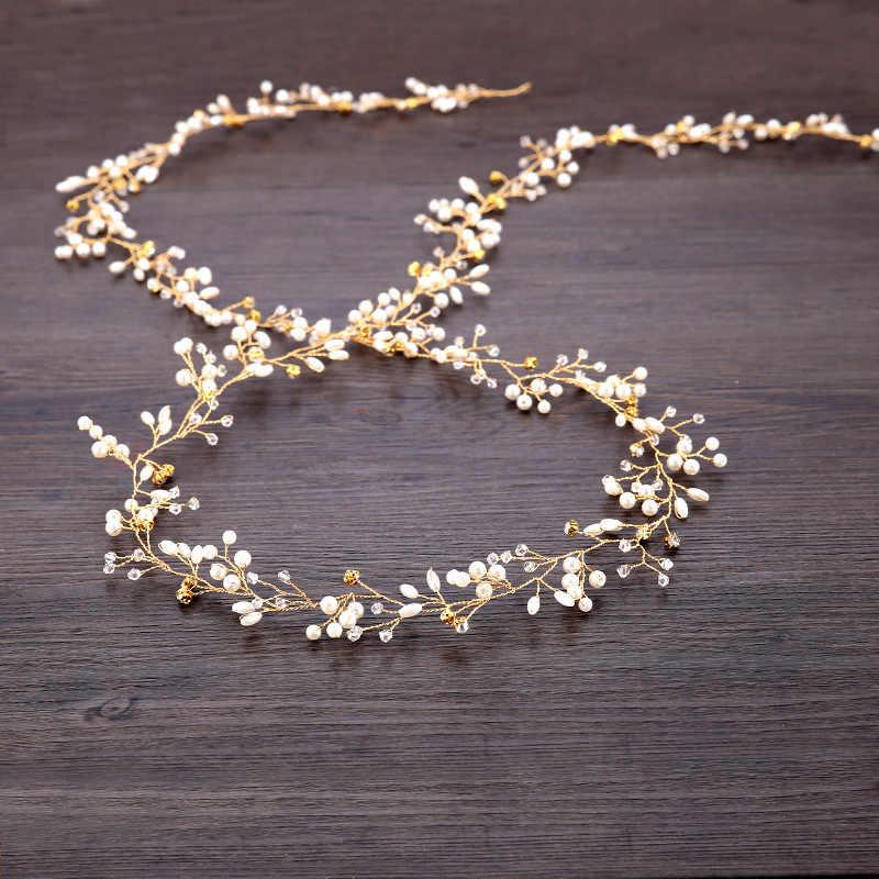 Pernikahan Bridal Bridesmaid Buatan Tangan Berlian Imitasi Pita Rambut Mutiara Mewah Aksesoris Rambut Headpiece Mempertemukan Topi Hias Tiara Panjang 30 Cm