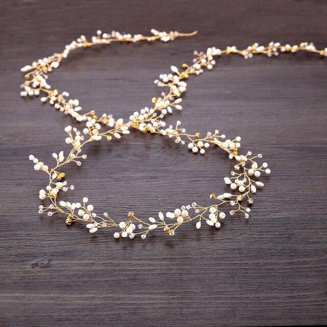 Mariage mariée demoiselle dhonneur fait à la main strass perle bandeau de luxe cheveux accessoires casque Fascinators tiare 30cm de Long
