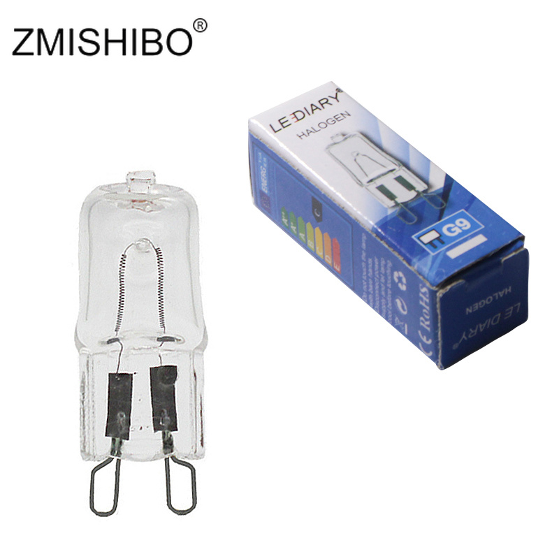 ZMISHIBO Spot 10PCS <font><b>G9</b></font> <font><b>Halogen</b></font> Bulb Dimmable 41mm*13mm 25w/40w/50w 110V/220V For Wall Lamp Clear Glass Warm White 2700K-3500K image