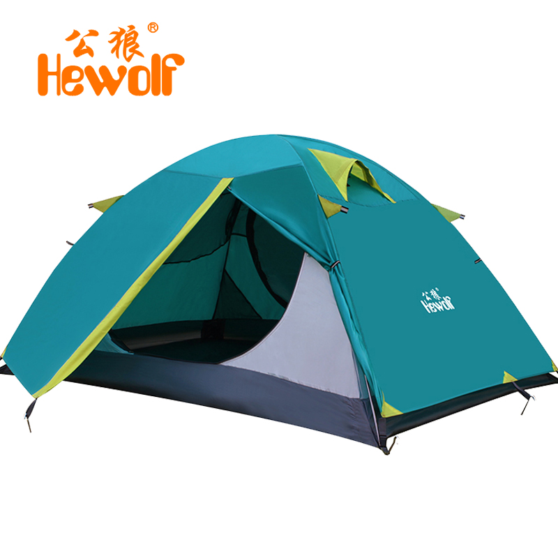 Hewolf High Quality Four Season 2 Person Tent Aluminum Rod Double Layer Rainproof Windproof Garden Party Camping Cadir Tent good quality flytop double layer 2 person 4 season aluminum rod outdoor camping tent topwind 2 plus with snow skirt 3colors
