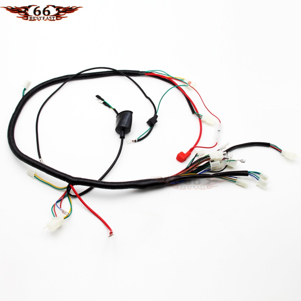 gy6 wireloom wiring harness assembly for scooter 50cc 125cc 150cc 200cc 250cc chinese elecric start kandi atv quad bike atomik buggy [ 1000 x 1000 Pixel ]