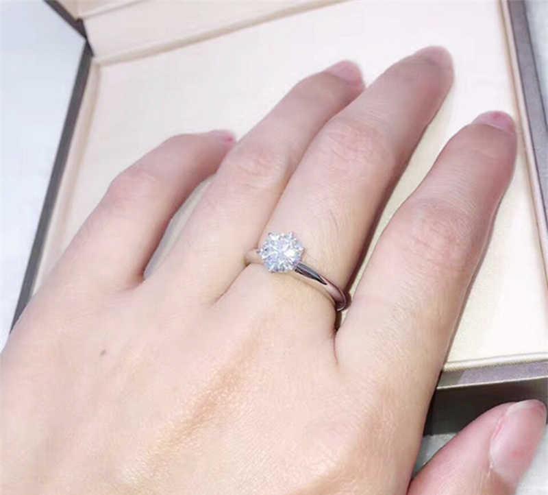 95% OFF! Certificate Original Solid 925 แหวนเงินหรูหรา 1ct 6mm CZ Zircon แหวนหมั้นแหวนของขวัญผู้หญิง ZR003