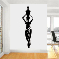 African Woman Girl Vinyl Wall Stickers Living Room Africa Culture Dance Style Pitcher Vase Wall Decal Home Decor Pattern S569