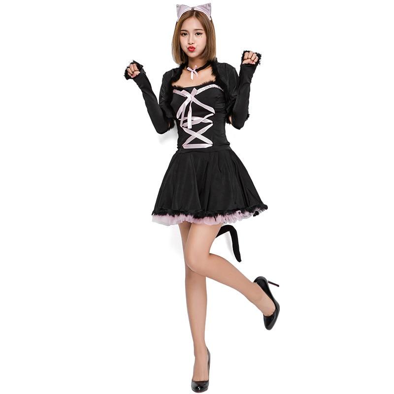New Cute Cat Girl Cosplay Animal Costume Halloween Adult -5908